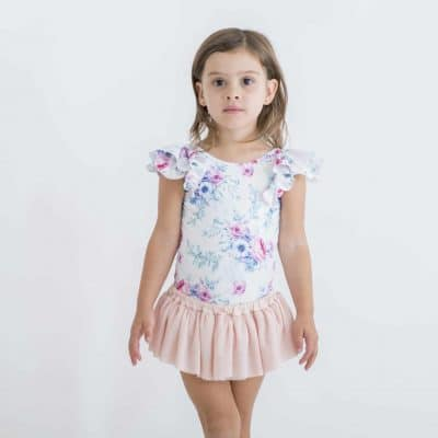 Luxe Frill Leotard - White Floral | Little Hearts Co