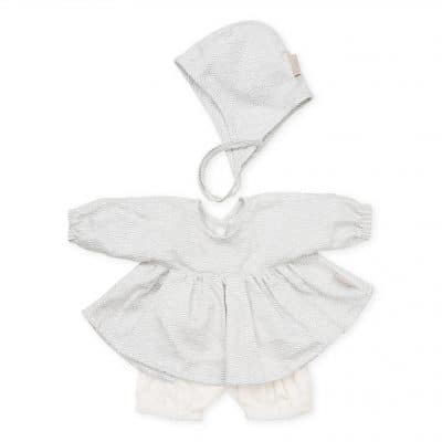 Doll Clothing Set & Bonnet - Grey Wave