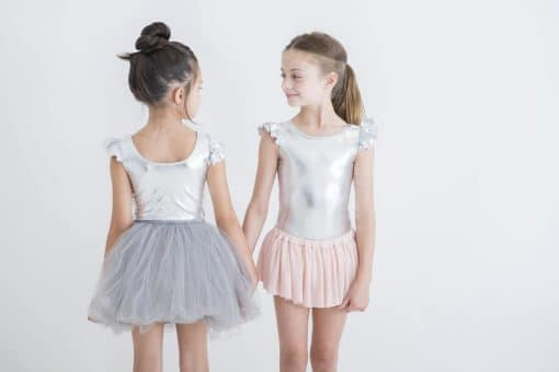 Luxe Frill Leotard - Metallic Silver | Little Hearts Co