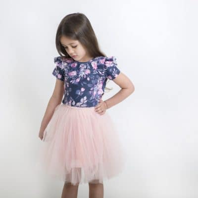 Short Sleeve Frill Leotard - Ink Floral
