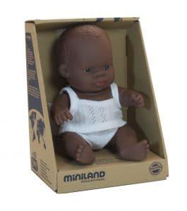 Miniland Baby Doll - African Boy 21cm