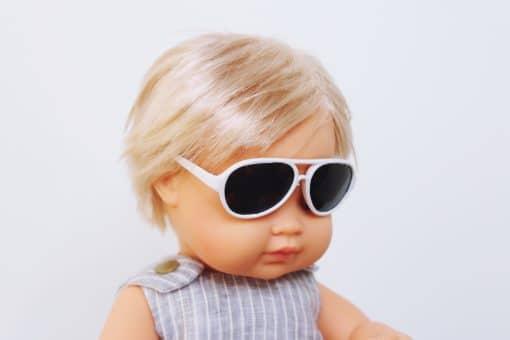 Doll Sunglasses - Aviator - White | Mini Nation